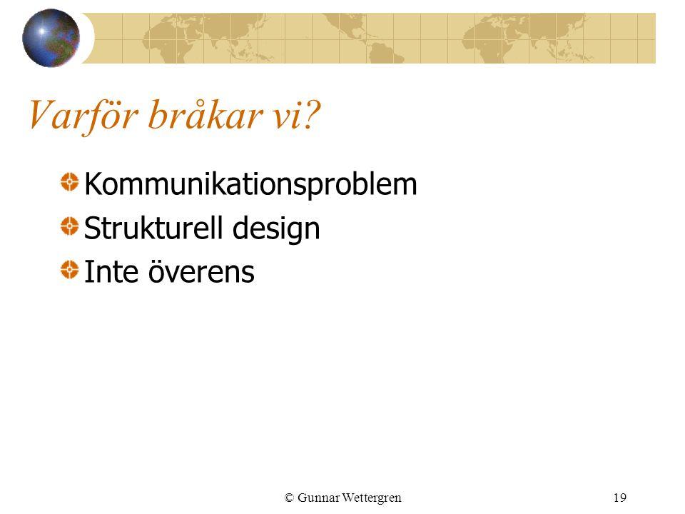 Varför bråkar vi Kommunikationsproblem Strukturell design