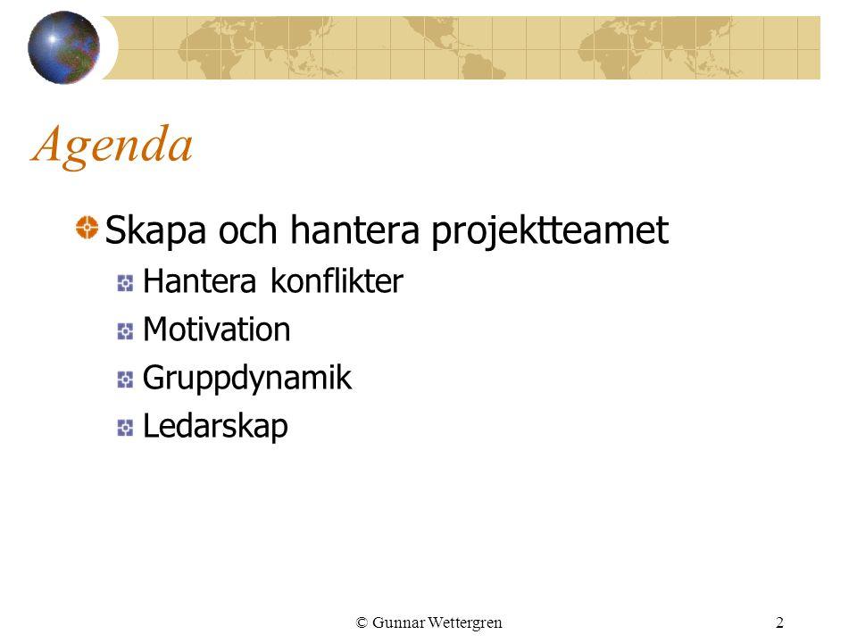 Agenda Skapa och hantera projektteamet Hantera konflikter Motivation