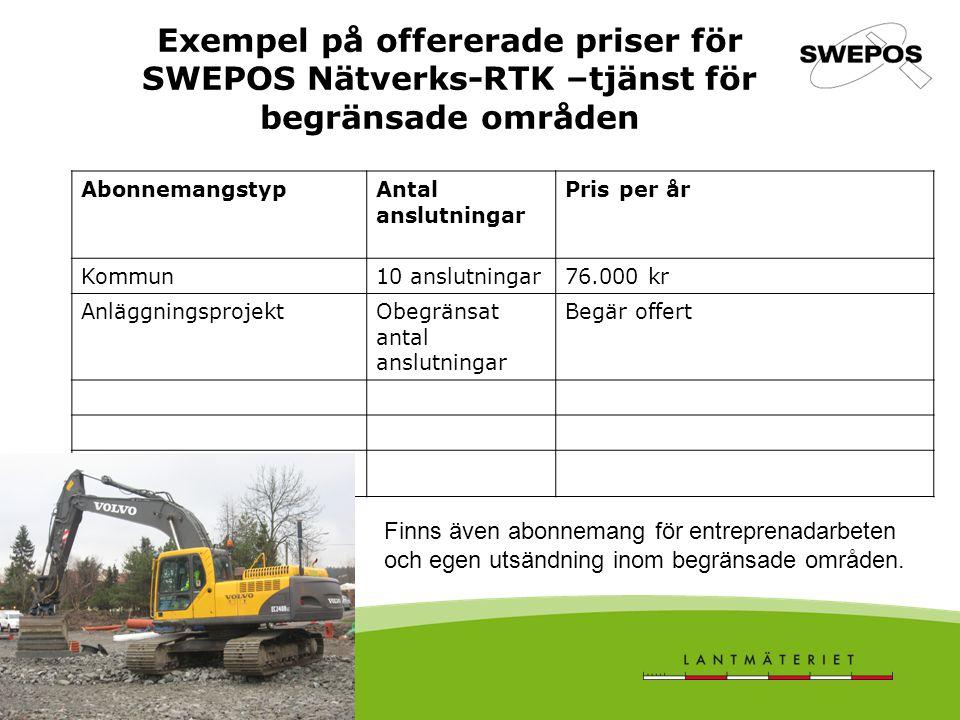 Exempel på offererade priser för SWEPOS Nätverks-RTK –tjänst för begränsade områden
