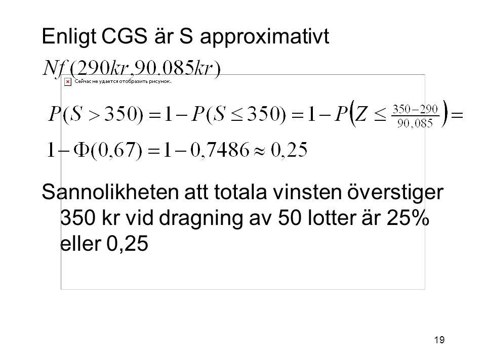 Enligt CGS är S approximativt
