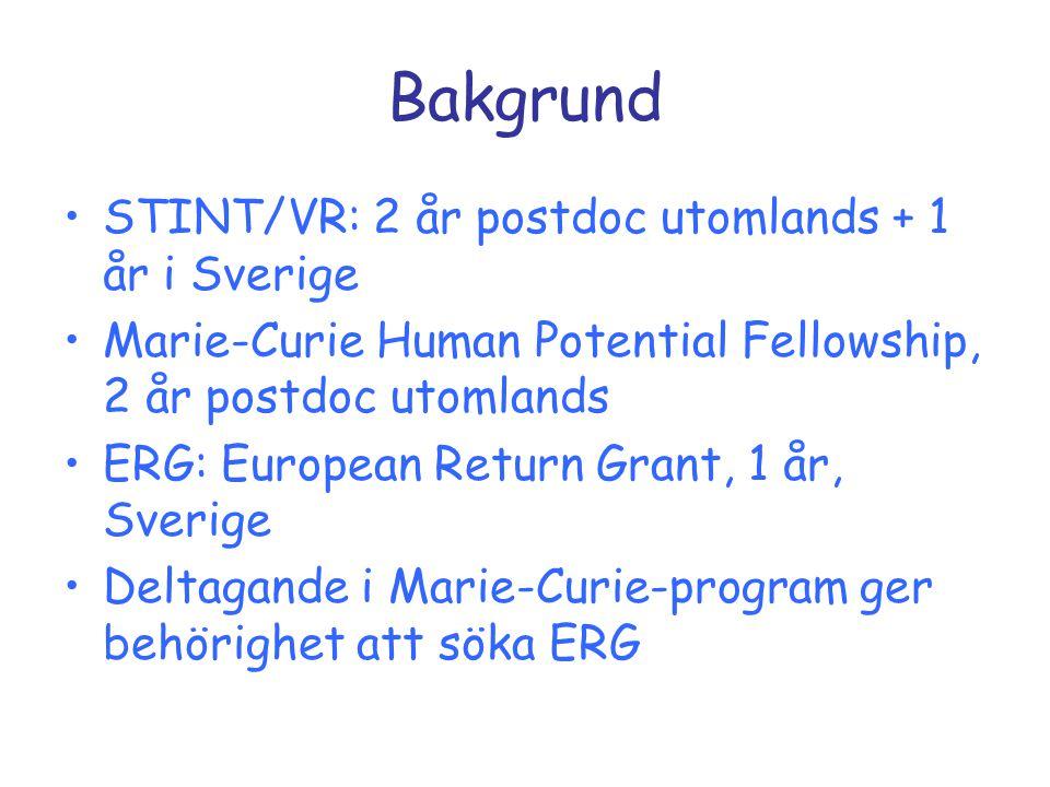 Bakgrund STINT/VR: 2 år postdoc utomlands + 1 år i Sverige