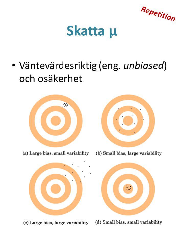 Repetition Skatta μ Väntevärdesriktig (eng. unbiased) och osäkerhet
