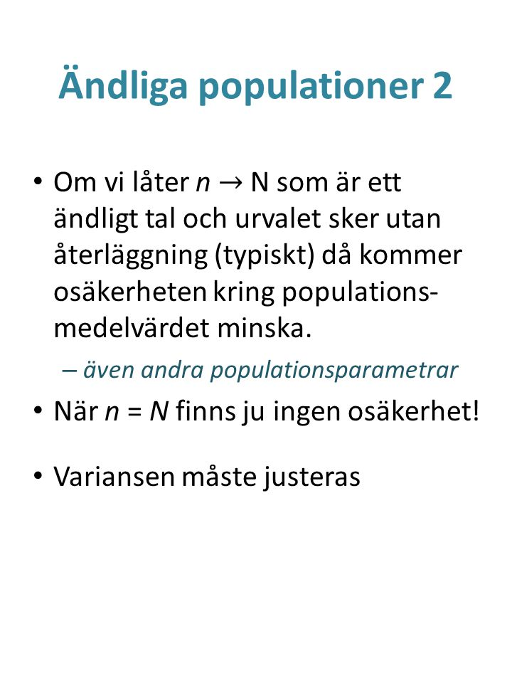 Ändliga populationer 2