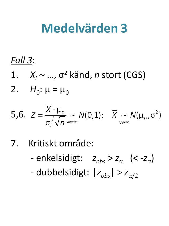 Medelvärden 3 Fall 3: Xi ~ …, σ2 känd, n stort (CGS) H0: μ = μ0 5,6.