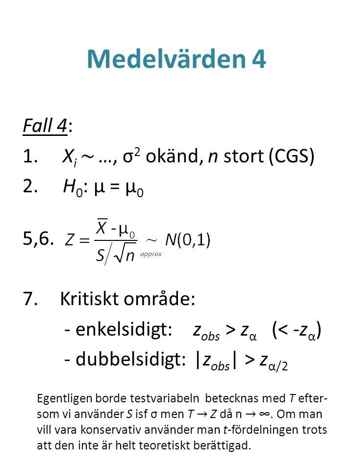 Medelvärden 4 Fall 4: Xi ~ …, σ2 okänd, n stort (CGS) H0: μ = μ0 5,6.