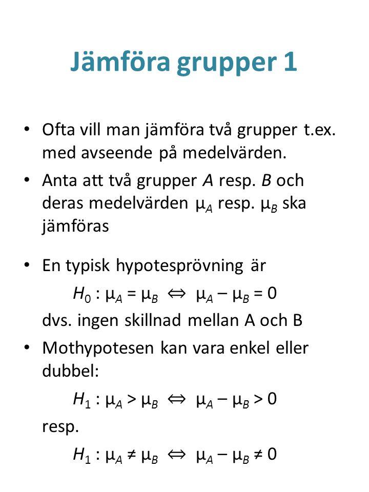 Jämföra grupper 1 Ofta vill man jämföra två grupper t.ex. med avseende på medelvärden.