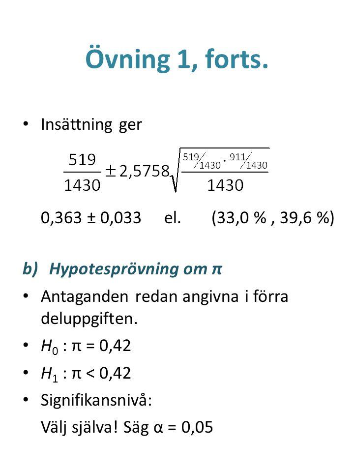 Övning 1, forts. Insättning ger 0,363 ± 0,033 el. (33,0 % , 39,6 %)