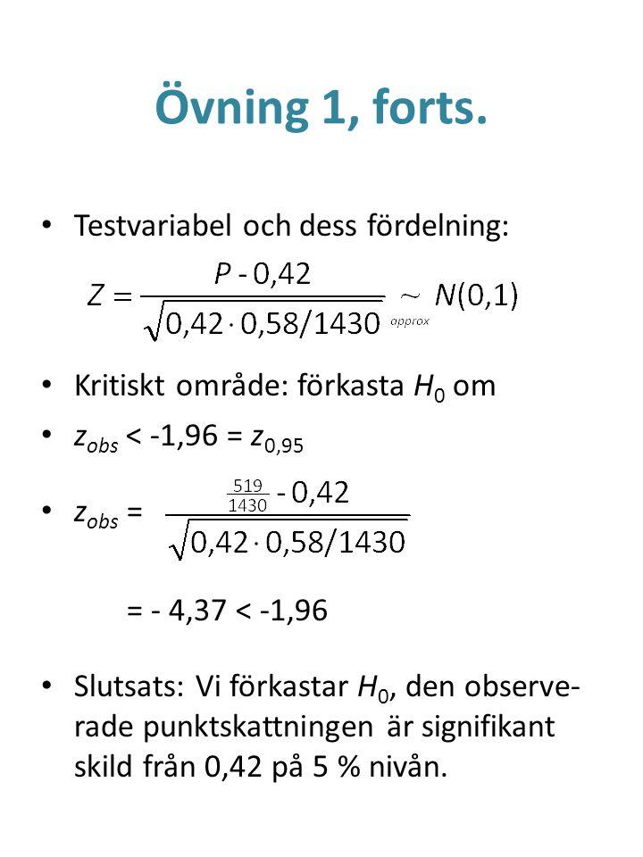 Övning 1, forts. Testvariabel och dess fördelning: