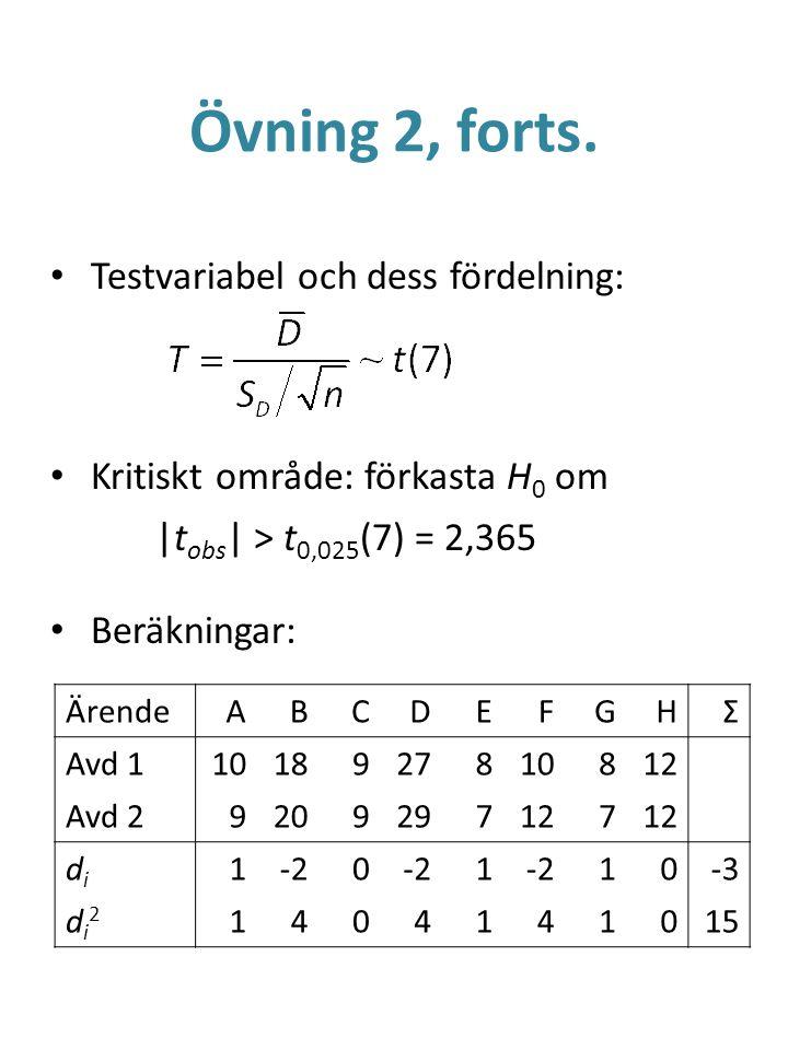 Övning 2, forts. Testvariabel och dess fördelning: