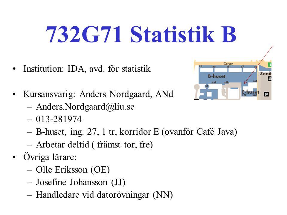 732G71 Statistik B Institution: IDA, avd. för statistik