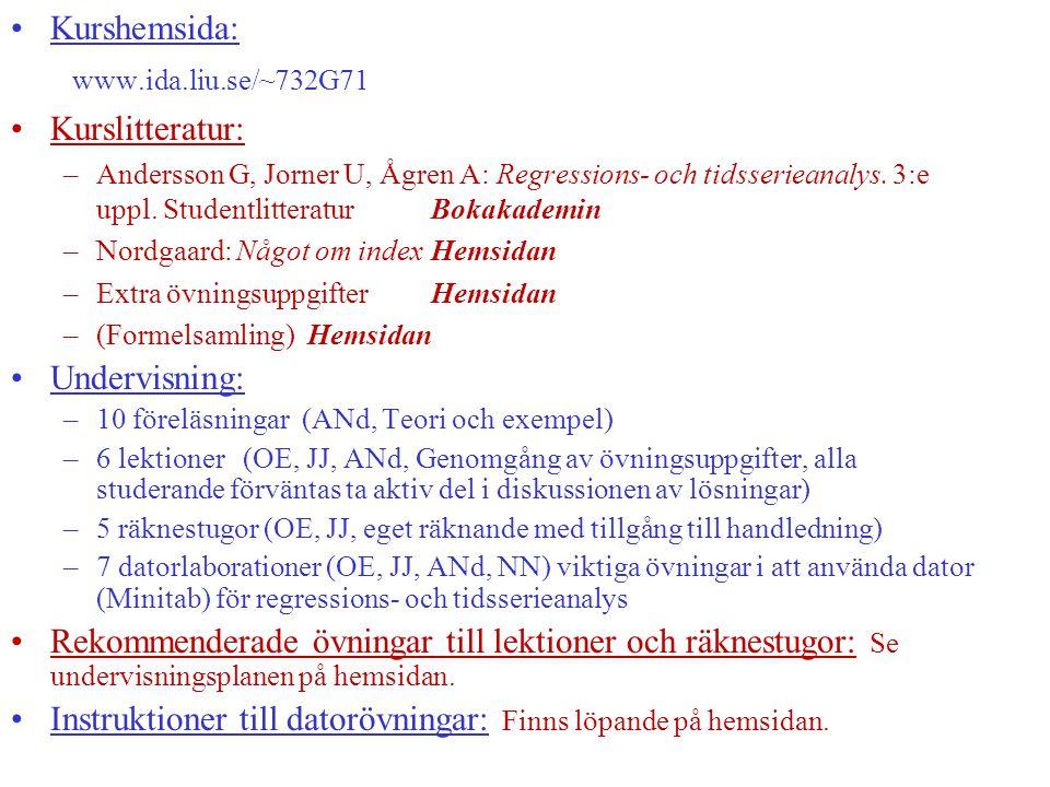 Instruktioner till datorövningar: Finns löpande på hemsidan.