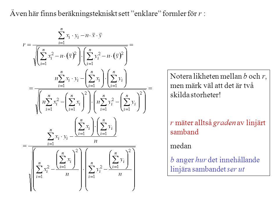 Även här finns beräkningstekniskt sett enklare formler för r :