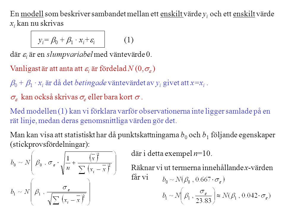 En modell som beskriver sambandet mellan ett enskilt värde yi och ett enskilt värde xi kan nu skrivas