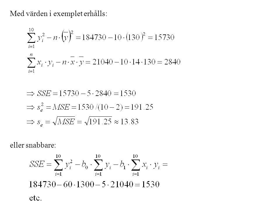 Med värden i exemplet erhålls: