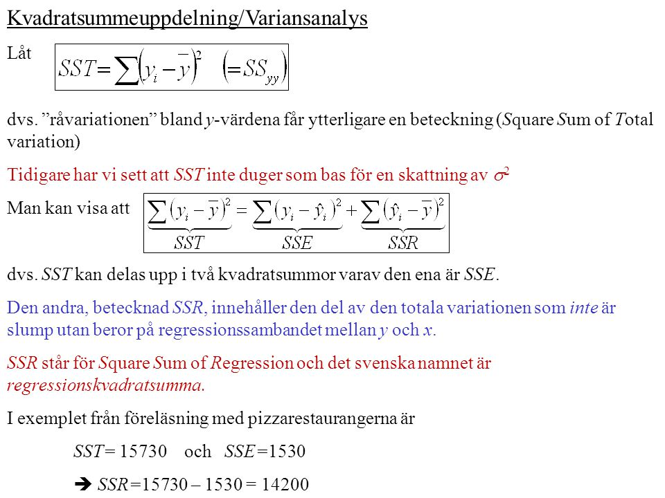 Kvadratsummeuppdelning/Variansanalys