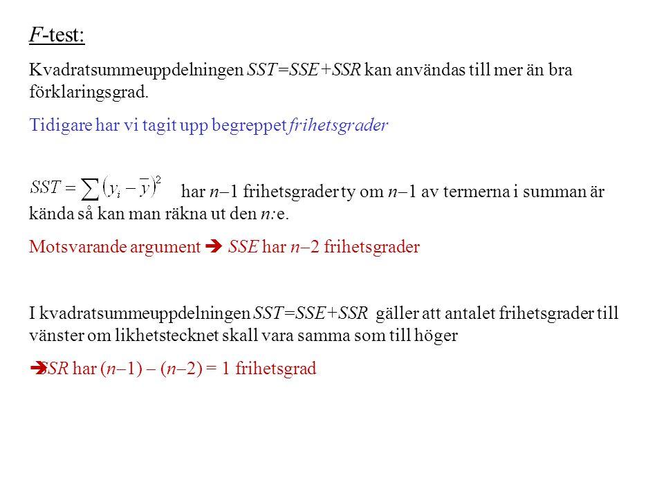 F-test: Kvadratsummeuppdelningen SST=SSE+SSR kan användas till mer än bra förklaringsgrad. Tidigare har vi tagit upp begreppet frihetsgrader.