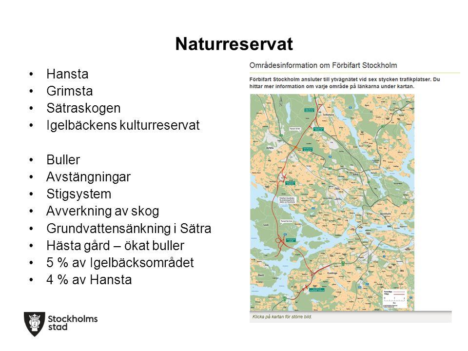 Naturreservat Hansta Grimsta Sätraskogen Igelbäckens kulturreservat