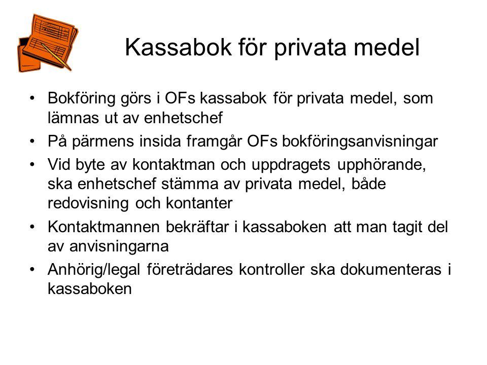 Kassabok för privata medel