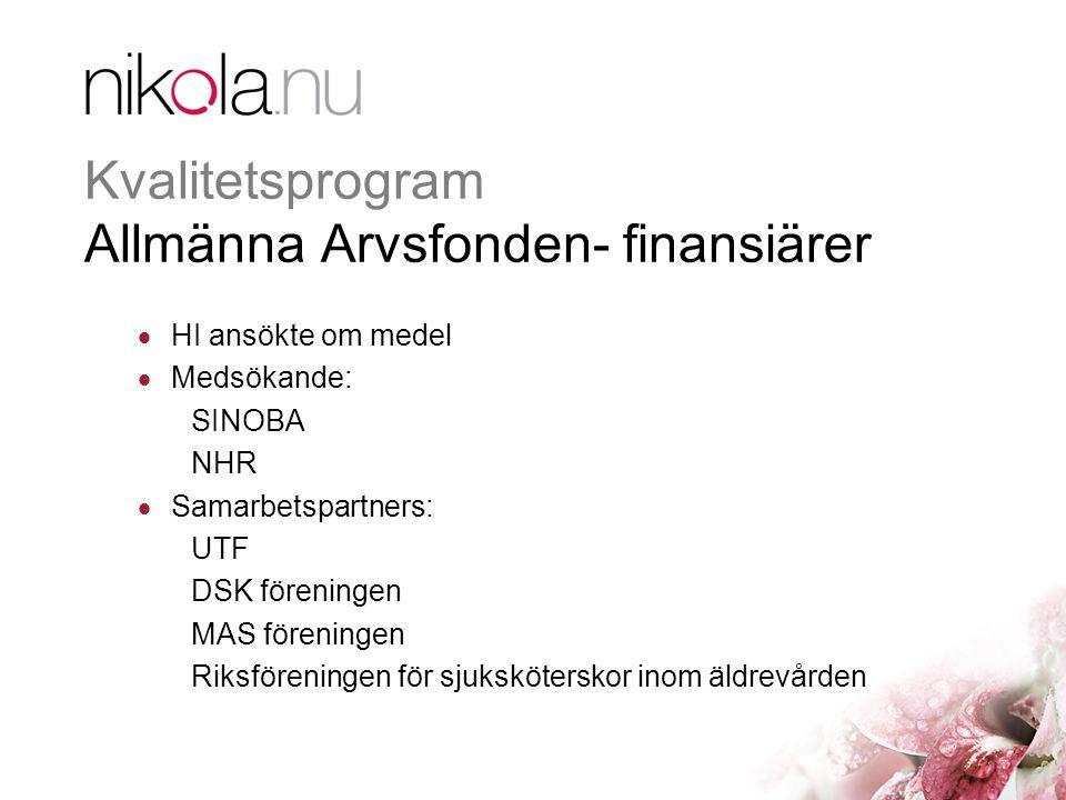 Kvalitetsprogram Allmänna Arvsfonden- finansiärer