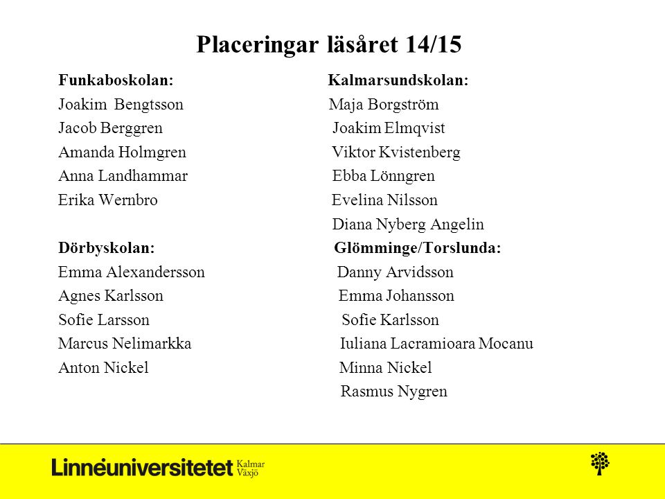 Placeringar läsåret 14/15