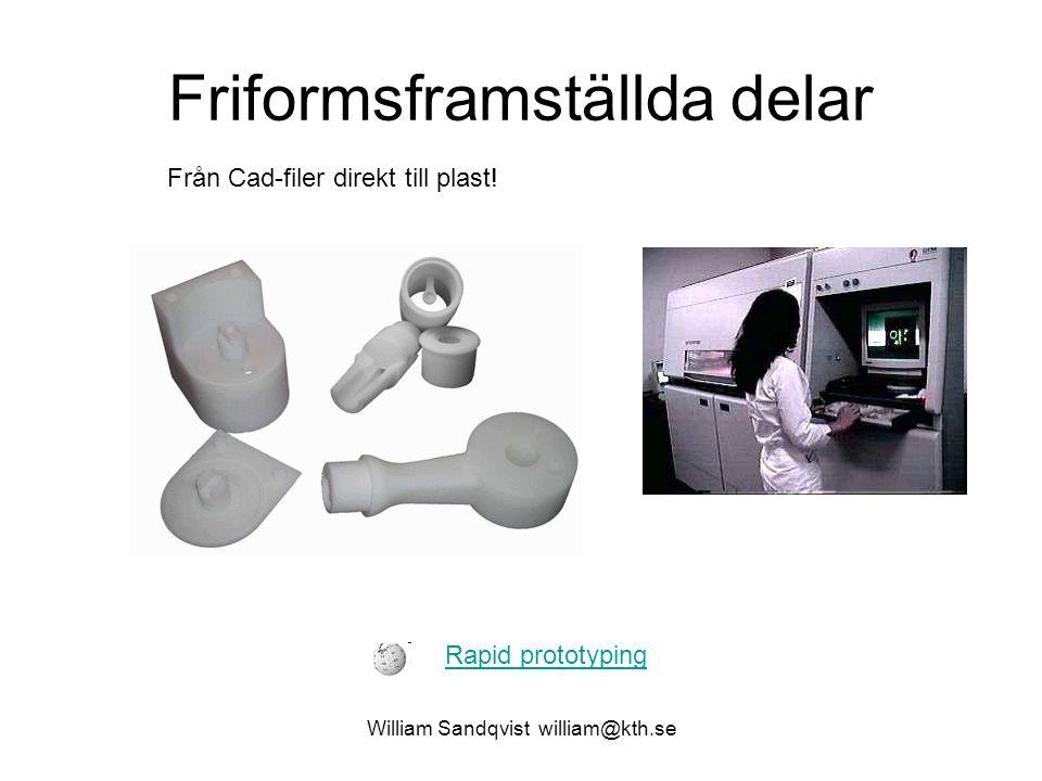 Friformsframställda delar