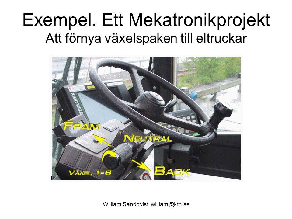 Exempel. Ett Mekatronikprojekt Att förnya växelspaken till eltruckar