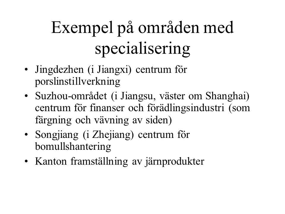 Exempel på områden med specialisering