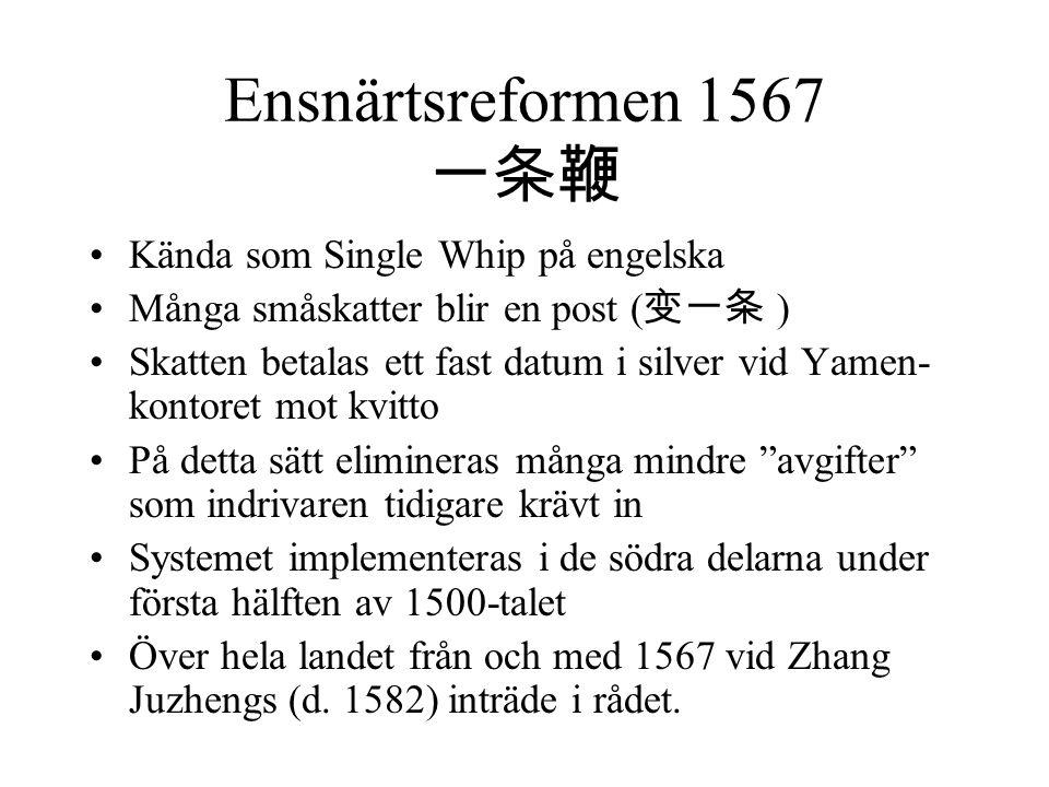 Ensnärtsreformen 1567 一条鞭 Kända som Single Whip på engelska