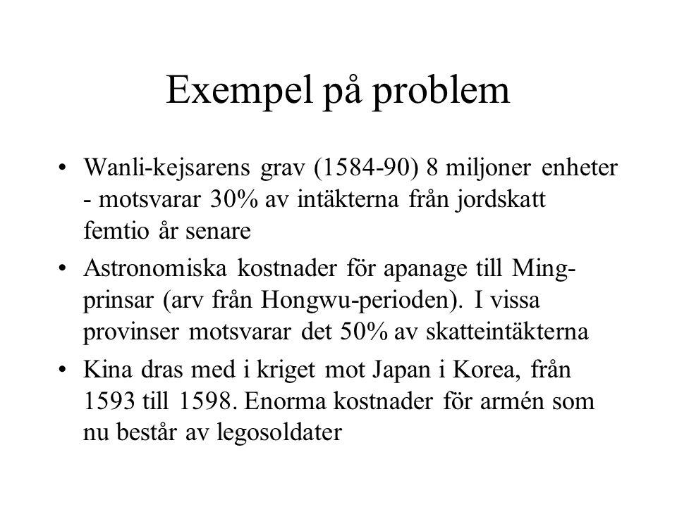 Exempel på problem Wanli-kejsarens grav (1584-90) 8 miljoner enheter - motsvarar 30% av intäkterna från jordskatt femtio år senare.