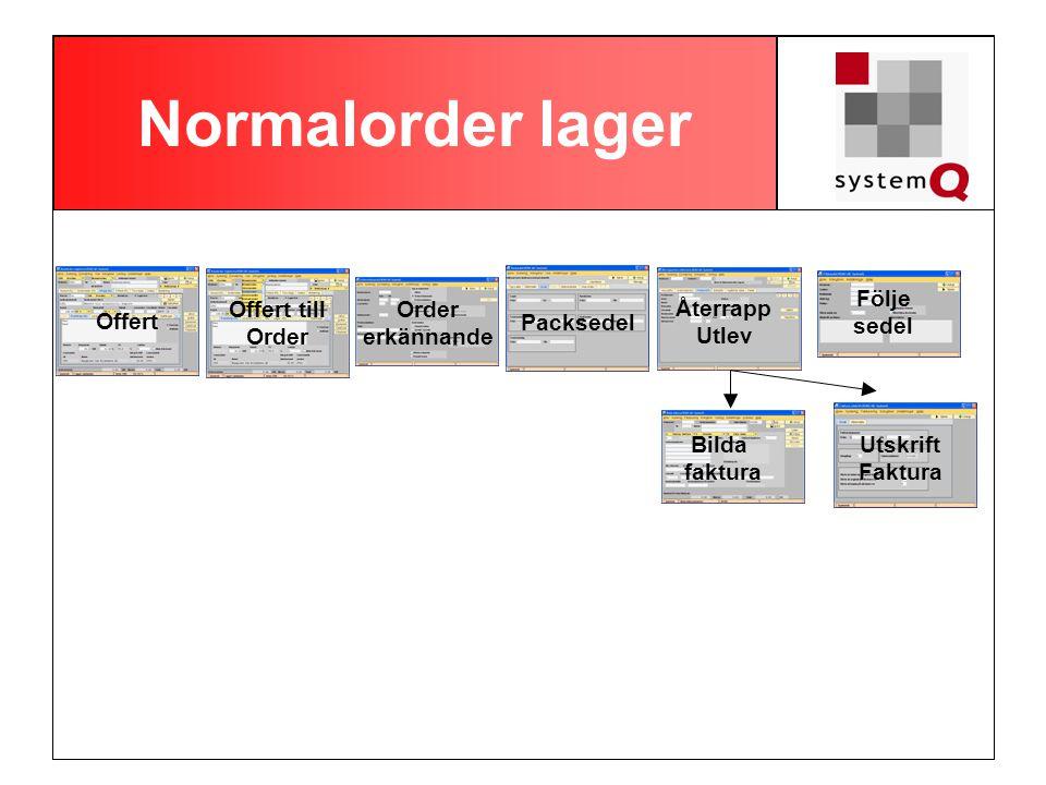 Normalorder lager Följe sedel Offert till Order Order erkännande