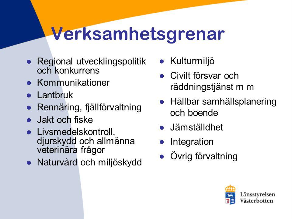 Verksamhetsgrenar Regional utvecklingspolitik och konkurrens