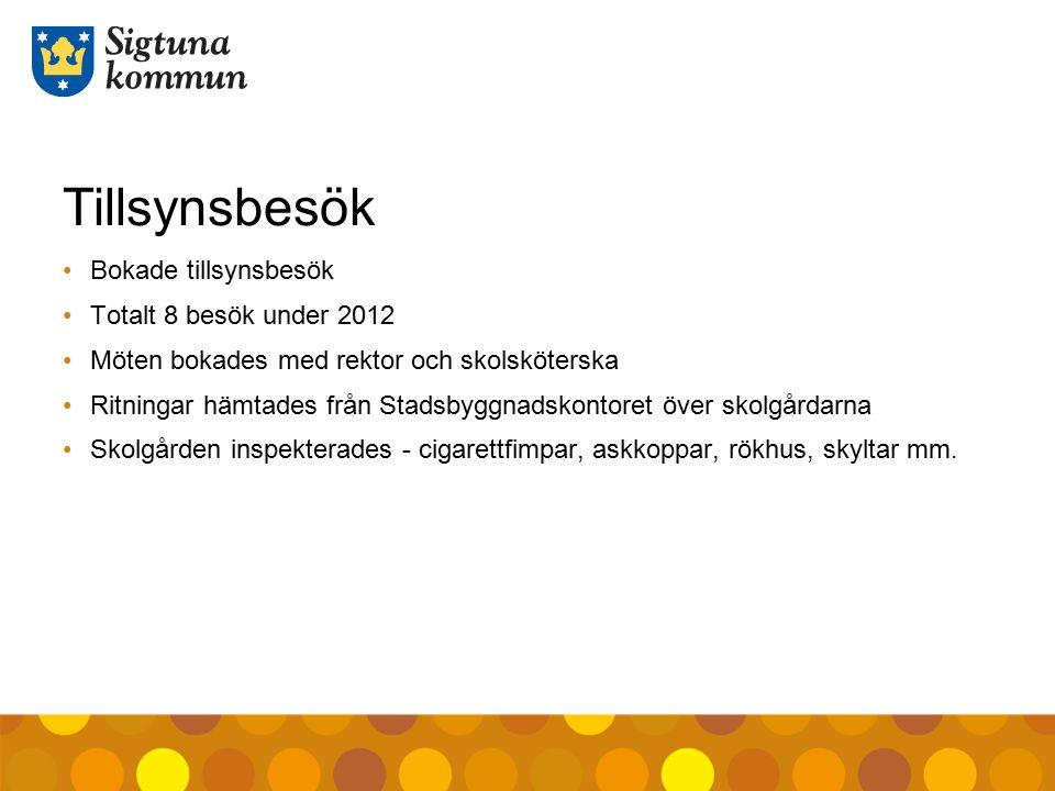 Tillsynsbesök Bokade tillsynsbesök Totalt 8 besök under 2012