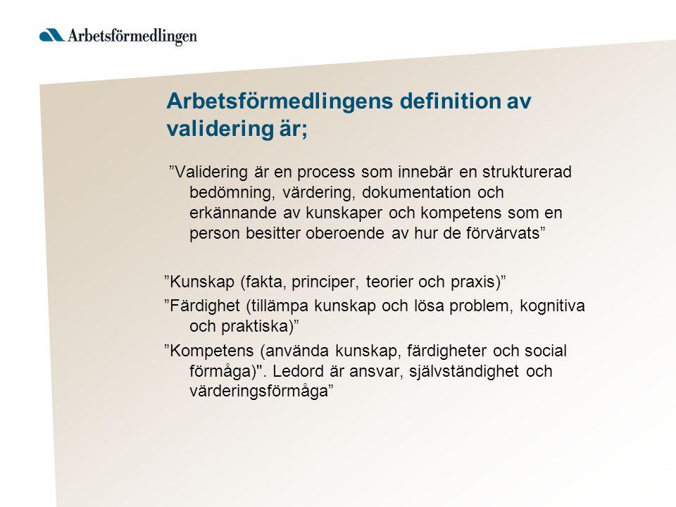 Arbetsförmedlingens definition av validering är;