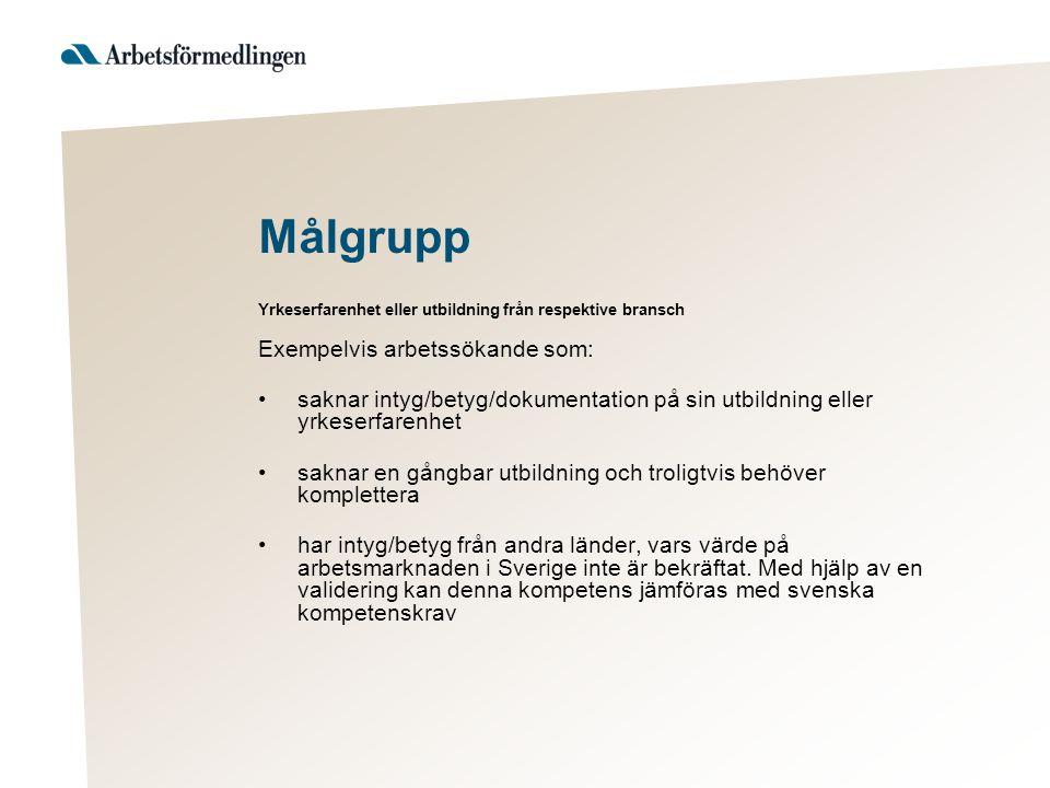Målgrupp Exempelvis arbetssökande som: