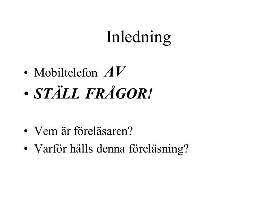 Inledning STÄLL FRÅGOR! Mobiltelefon AV Vem är föreläsaren