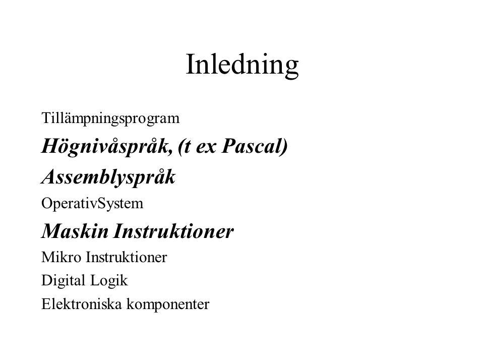 Inledning Högnivåspråk, (t ex Pascal) Assemblyspråk