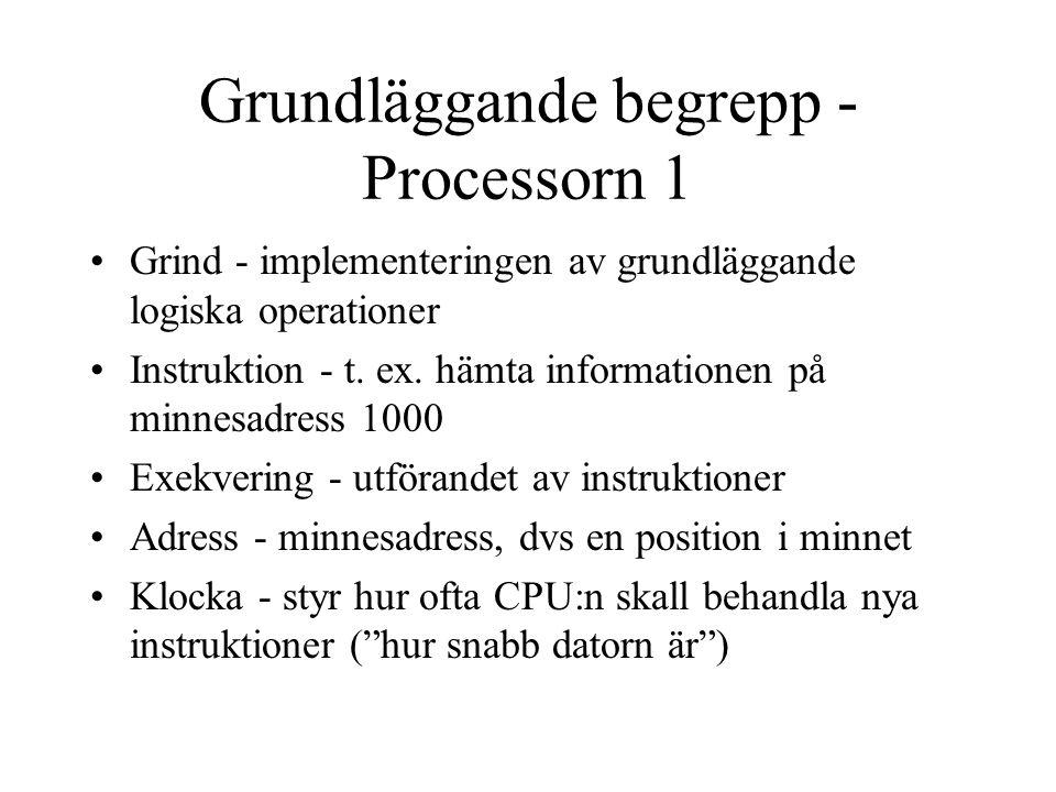 Grundläggande begrepp - Processorn 1