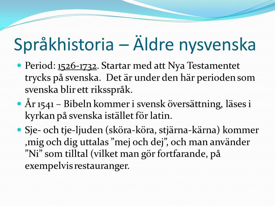 Språkhistoria – Äldre nysvenska