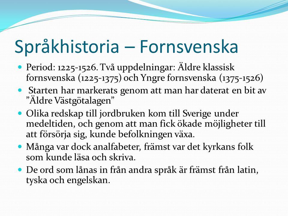 Språkhistoria – Fornsvenska