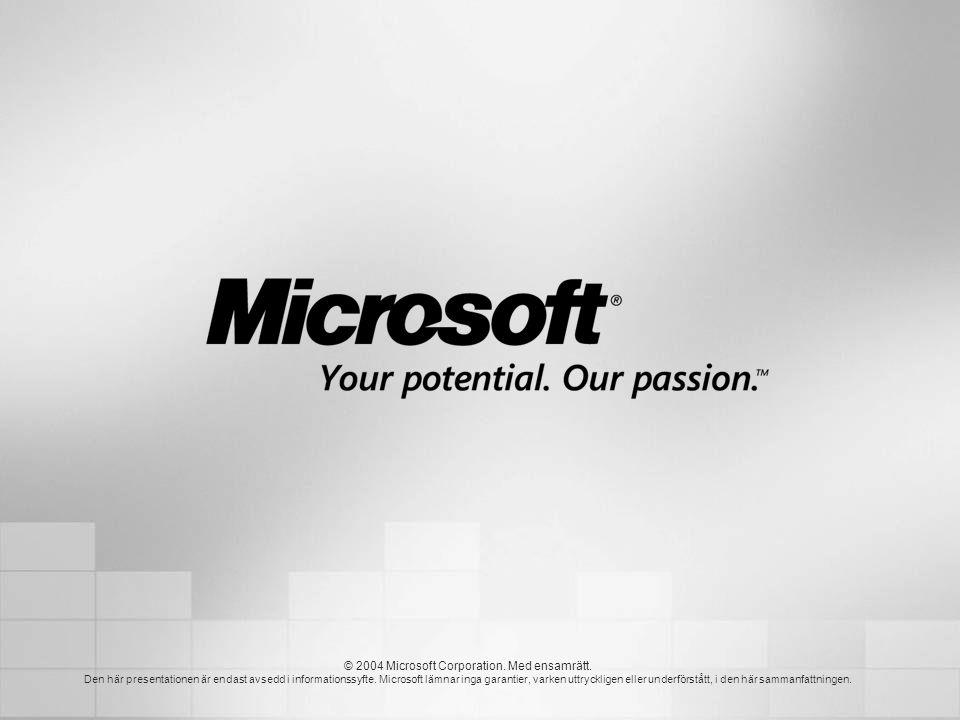 © 2004 Microsoft Corporation. Med ensamrätt.