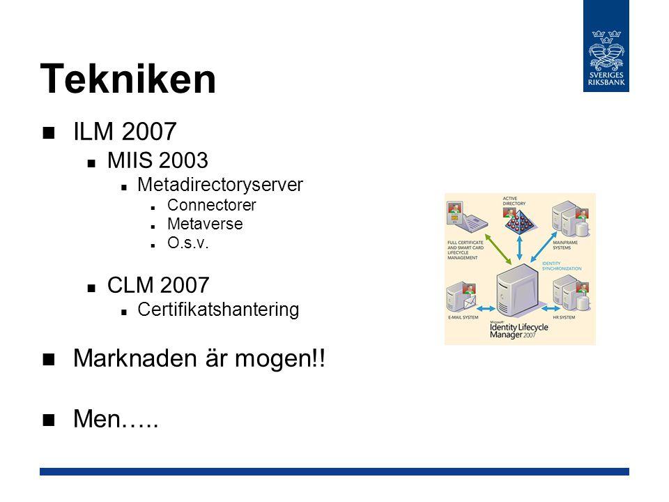 Tekniken ILM 2007 Marknaden är mogen!! Men….. MIIS 2003 CLM 2007