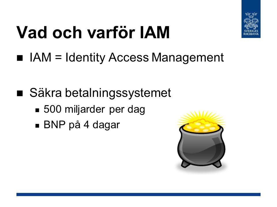 Vad och varför IAM IAM = Identity Access Management