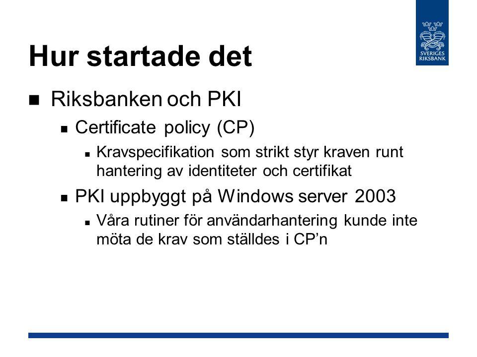 Hur startade det Riksbanken och PKI Certificate policy (CP)