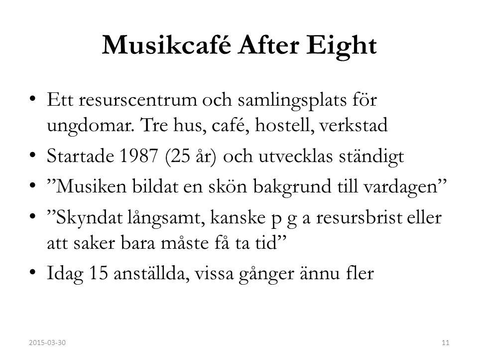 Musikcafé After Eight Ett resurscentrum och samlingsplats för ungdomar. Tre hus, café, hostell, verkstad.