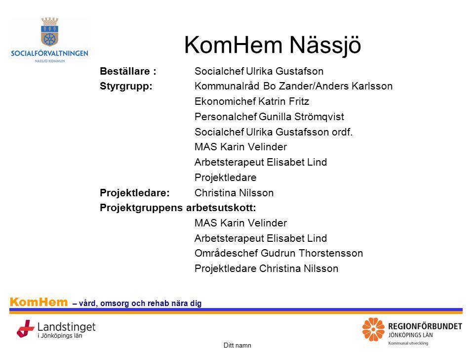 KomHem Nässjö Beställare : Socialchef Ulrika Gustafson
