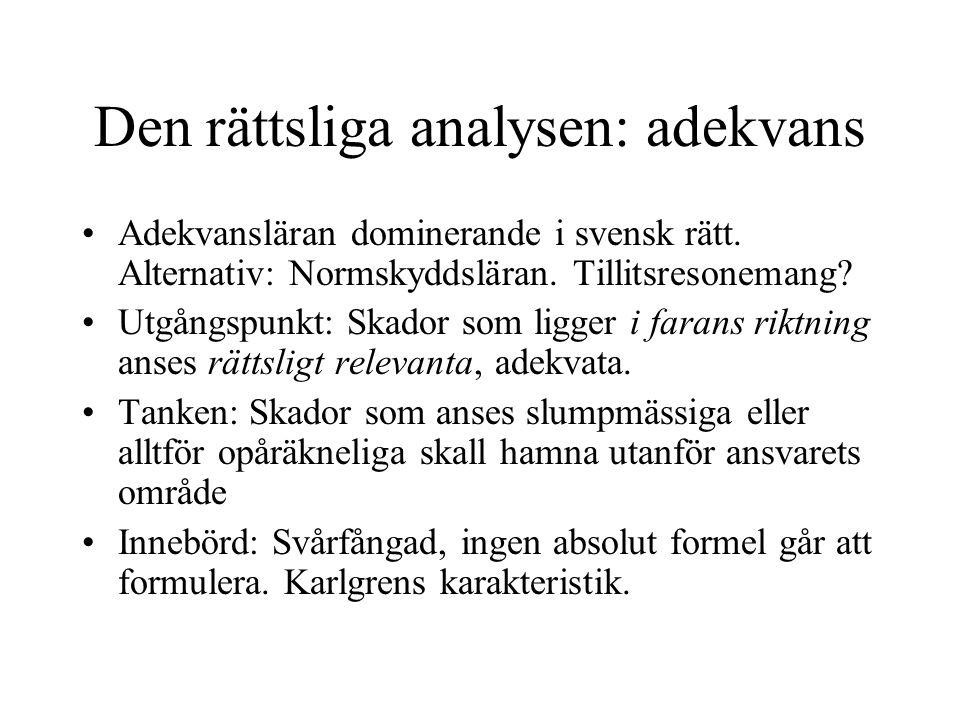 Den rättsliga analysen: adekvans
