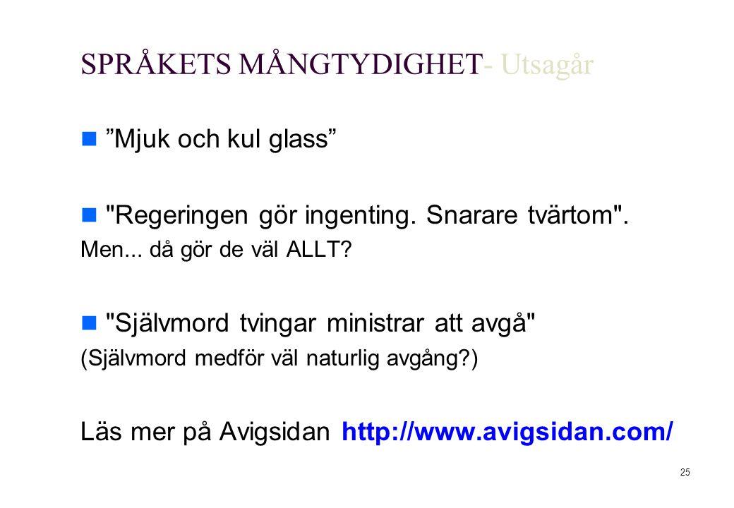 SPRÅKETS MÅNGTYDIGHET- Utsagår