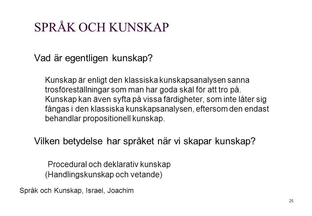 SPRÅK OCH KUNSKAP