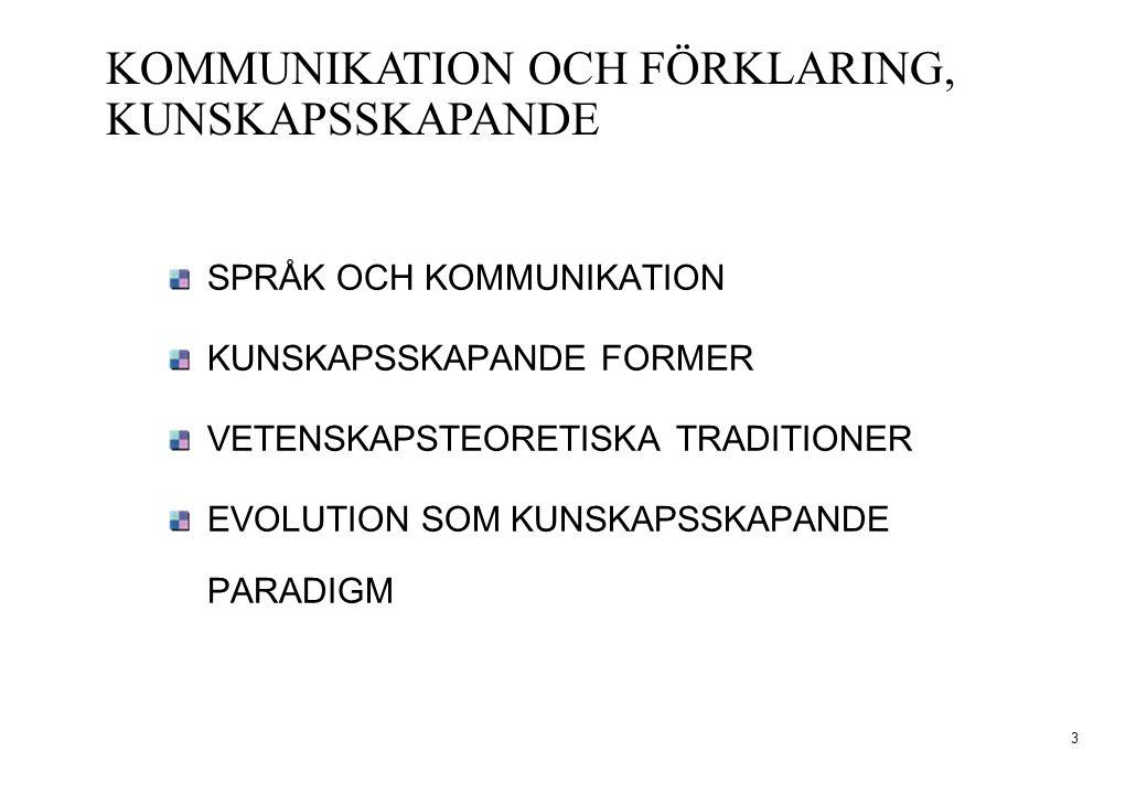 KOMMUNIKATION OCH FÖRKLARING, KUNSKAPSSKAPANDE