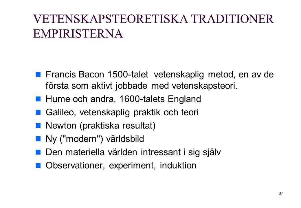 VETENSKAPSTEORETISKA TRADITIONER EMPIRISTERNA